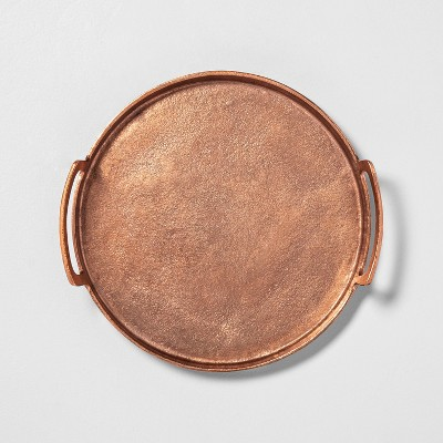 Antique Finish Round Decor Tray Copper - Hearth & Hand™ with Magnolia
