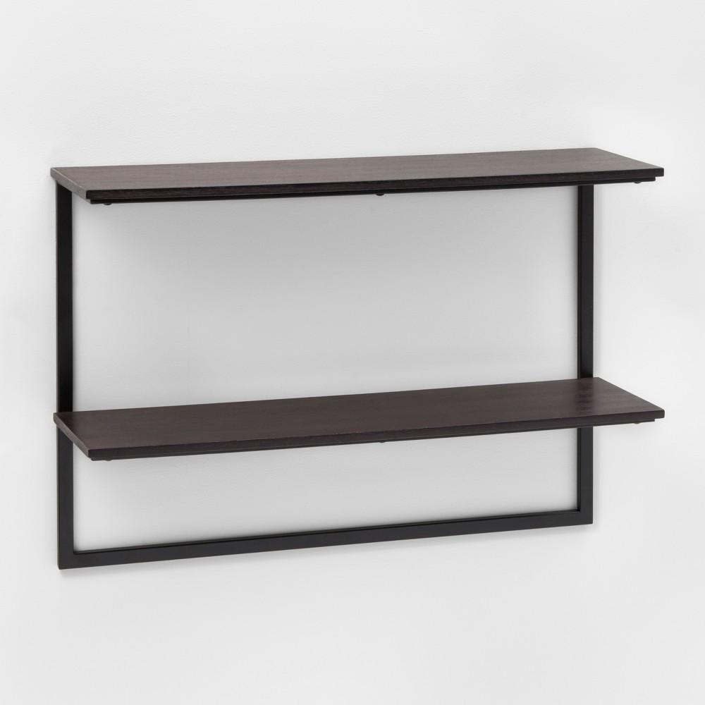 Wood & Metal Double Shelf (24) - Blackened Oak - Project 62