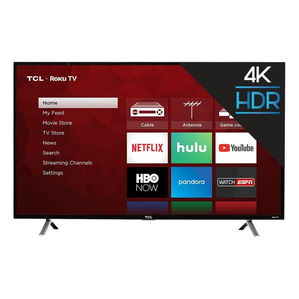 "TCL 49"" 4K UHD HDR Roku Smart TV (49S405), Black"