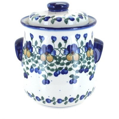 Blue Rose Polish Pottery Pansies Cookie Jar
