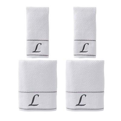 "4pc ""L"" Monogram Bath/Hand Towel Set White - SKL Home"
