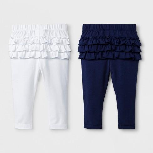 9bd7078c9 Baby Girls' 2pk Leggings Set - Cat & Jack™ Nightfall Blue/True White 12M :  Target