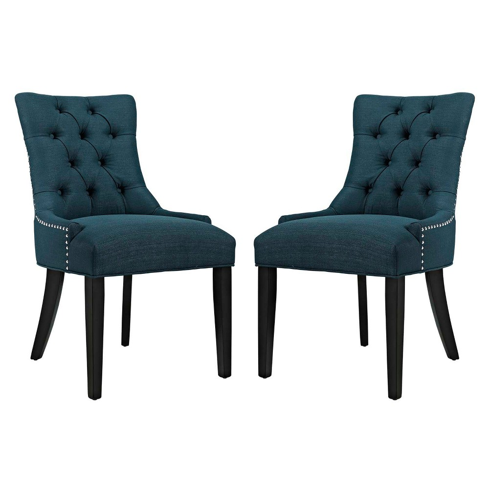 Regent Dining Side Chair Fabric Set of 2 Azure (Blue) - Modway