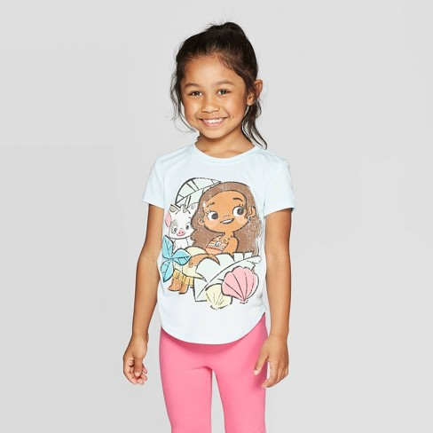 Toddler Girls' Disney Little Moana Short Sleeve T-Shirt - Blue - image 1 of 3