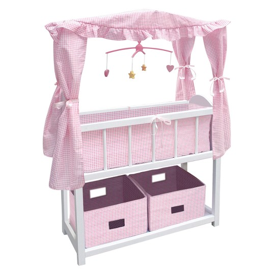 Badger Basket Doll Canopy Crib with Mobile & Storage Bins image number null