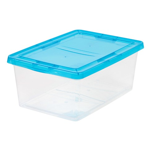 IRIS 17qt Plastic Storage Bin - 2pk With Teal Lid - image 1 of 5