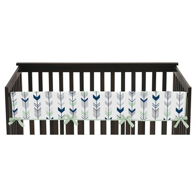 Sweet Jojo Designs Front Crib Rail Guard Cover - Navy & Mint Mod Arrow
