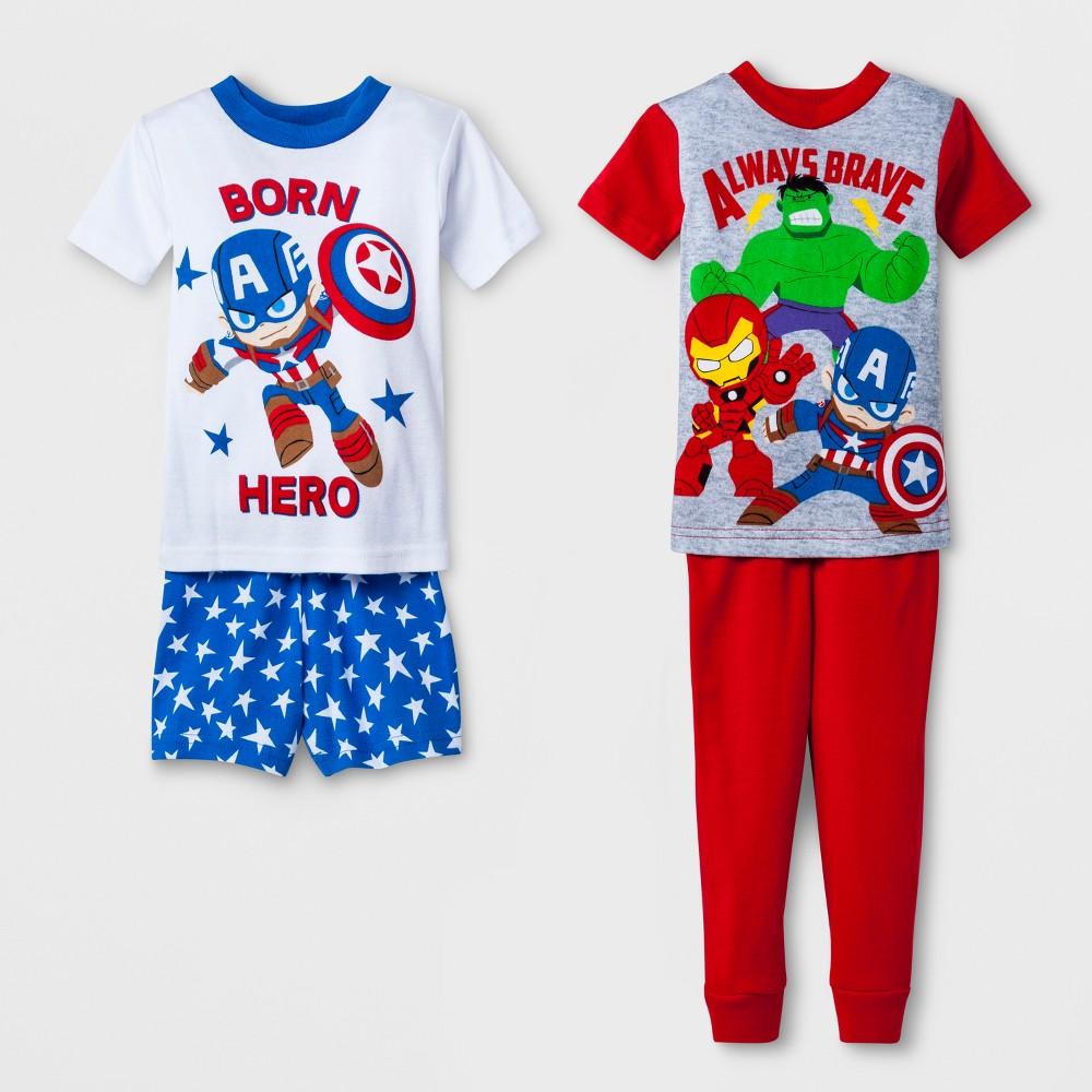 Image of Baby Boys' Marvel Avengers 4pc Pajama Set - White 12M, Boy's