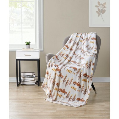 Kate Aurora Autumn Living Harvest Delivery Pick Up Trucks Ultra Soft & Plush Oversized Throw Blanket Covers