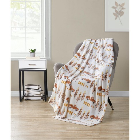 Kate Aurora Autumn Living Harvest Delivery Pick Up Trucks Ultra Soft & Plush Oversized Throw Blanket Covers - image 1 of 1
