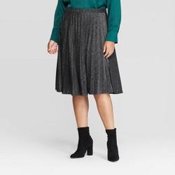 Women's Plus Size Metallic Pleated Midi Skirt - Ava & Viv™ Black