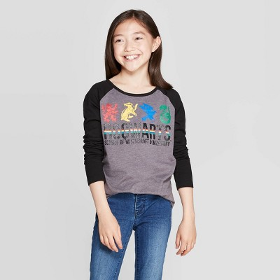 Harry Potter Hogwarts Girls Raglan T-Shirt