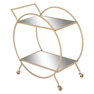 Metal and Mirror Round Cart Gold - Olivia & May
