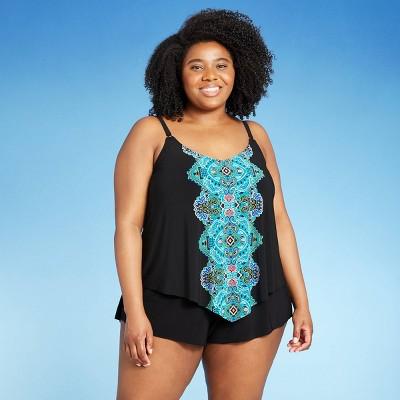 Women's Plus Size Drape-Front Swim Romper - Aqua Green® Black