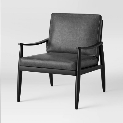 Mossbrook Leather Wood Armchair Black - Project 62™