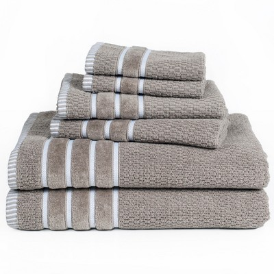 6pc Combed Cotton Bath Towels Sets Taupe Brown - Yorkshire Home