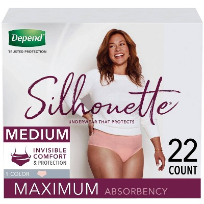 Depend Silhouette Incontinence Underwear for Women - Maximum Absorbency - Medium - Pink - 22ct