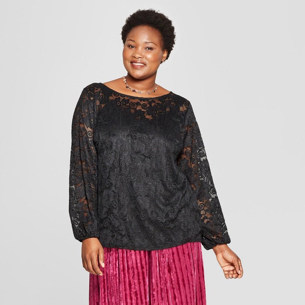 Women's Plus Size Long Sleeve Chiffon Blouse with Cami - Ava & Viv Black 4X