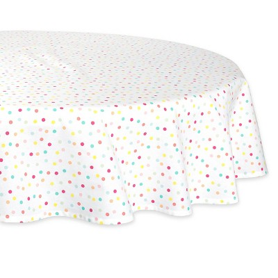 "70"" Cotton Polka Dots Round Kitchen Tablecloth - Design Imports"