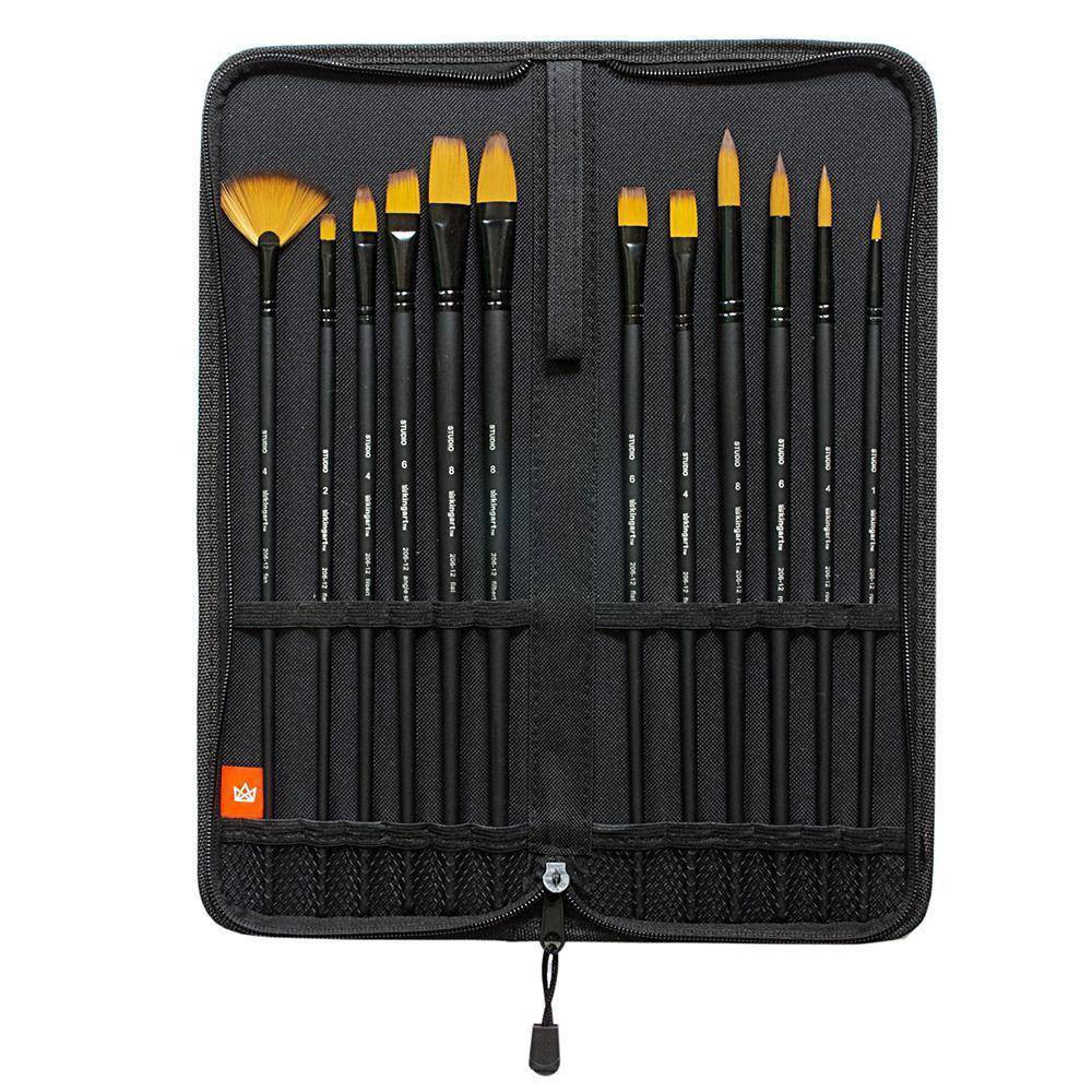 Image of Kingart 12pc Fine Art Brush Set and Case