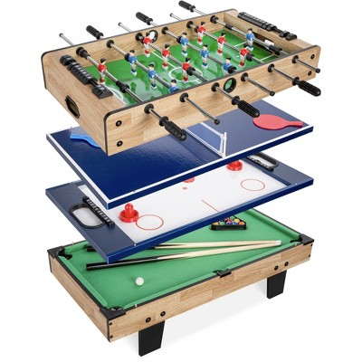 Best Choice Products 4-in-1 Multi Game Table, Childrens Arcade Set w/ Pool Billiards, Air Hockey, Foosball, Table Tennis