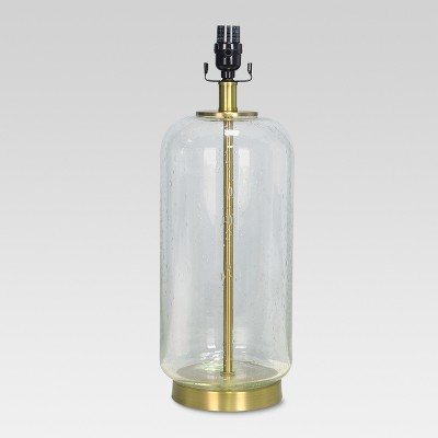 Bubble Glass with Brass Detail Large Lamp Base Clear Includes Energy Efficient Light Bulb - Threshold™