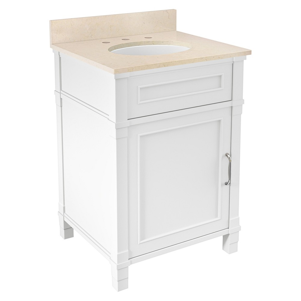 Williamsburg with Beige Marble Sink Top Set Bath Vanity Cabinet White 25 - Alaterre Furniture