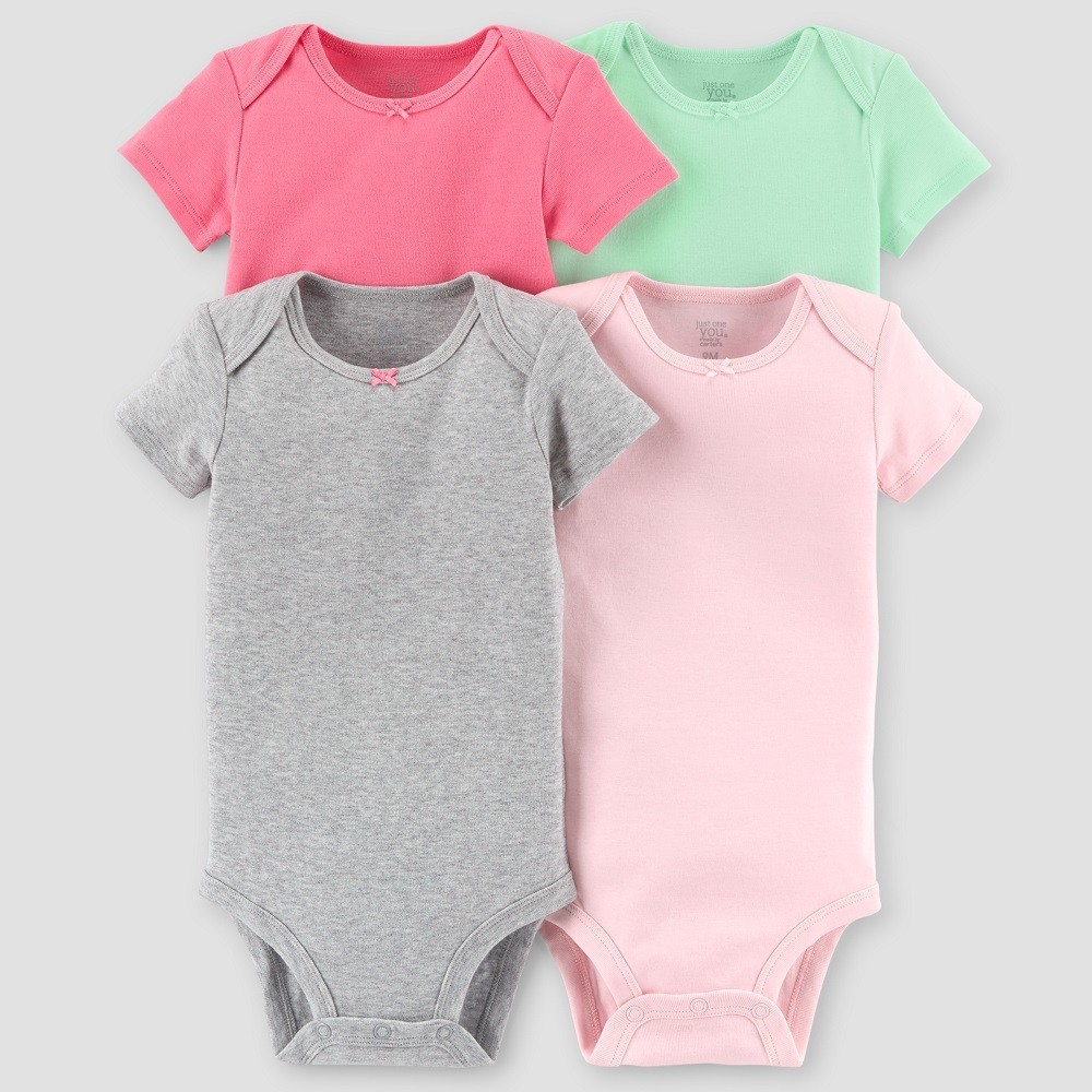 Baby Girls' 4pk Short Sleeve Bodysuit Set - Just One You made by carter's Gray/Mint/Pink 24M