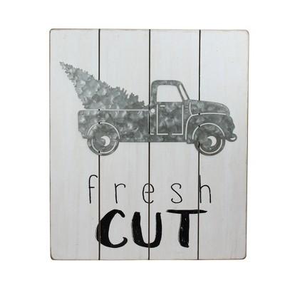 "Ganz 15.75"" Gray and Black ""fresh CUT"" Galvanized Truck Christmas Wall Hanging"