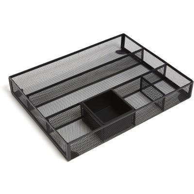 MyOfficeInnovations 6 Compartment Mesh Drawer Organizer, Matte Black 24402497