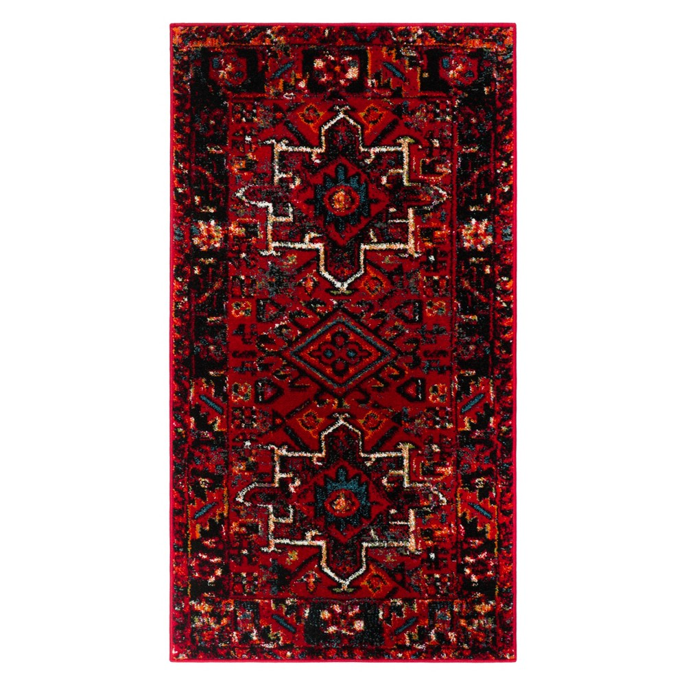 22X4 Geometric Design Loomed Accent Rug Red - Safavieh Compare