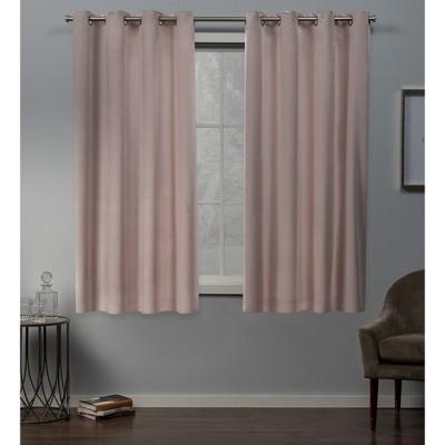 "Set of 2 63""x54"" Velvet Heavyweight Grommet Top Window Curtain Panel Blush - Exclusive Home"