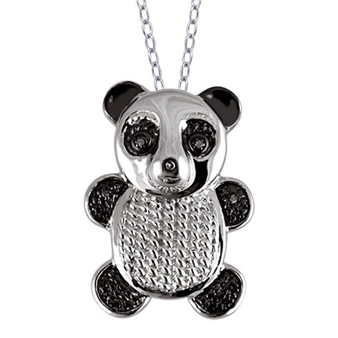 "Women's Sterling Silver Accent Round-Cut White Diamond Pave Set Bear Pendant (18"") - image 1 of 2"