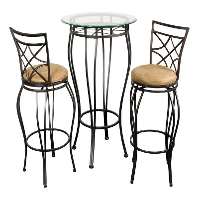 3pc Galaxy Bistro Bar Height Dining Set Brown - Home Source