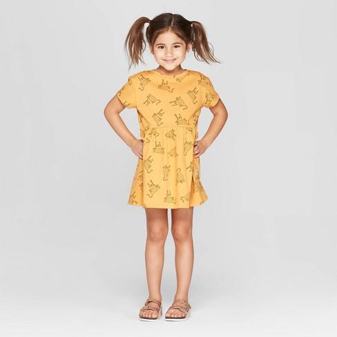 d6b56bf0308 Toddler Girls  Short Sleeve  Cheetah  T-Shirt Dress - art class™ Gold