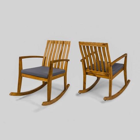 2pk Colmena Acacia Wood Patio Rustic, Outdoor Rocking Chair Cushions Target