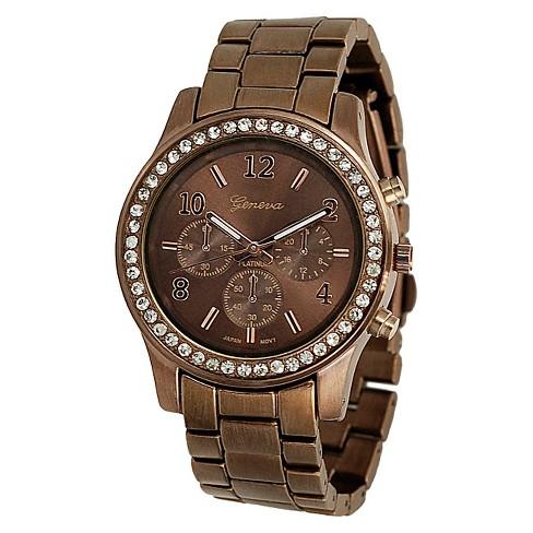 Geneva Platinum Women's Rhinestone-Accented Link Watch - Brown - image 1 of 3