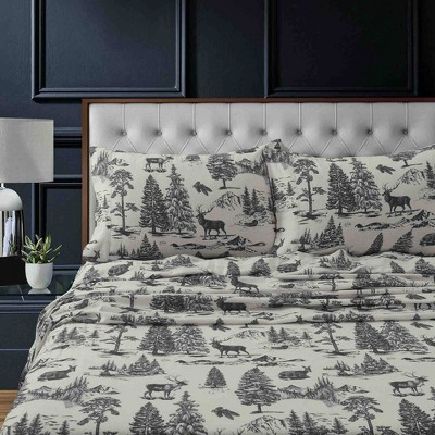 California King Printed Pattern Extra Deep Pocket Heavyweight Flannel Sheet Set Charcoal Mountain - Tribeca Living