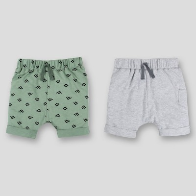 Lamaze Baby Boys' 2pk Organic Cotton Terry Harem Jogger Shorts - Gray/Green 3M