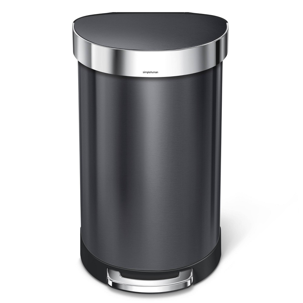 Image of simplehuman 45 ltr Semi-Round Step Trash Can Black Stainless Steel