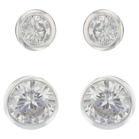 Stud Earrings Sterling Bezel Round Cubic Zirconia Set - 2pk - Silver/Clear - image 1 of 1