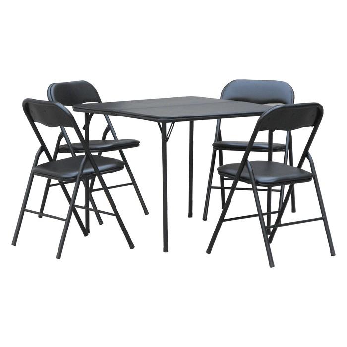 Plastic Dev Group 5pc Folding Table Set Black - image 1 of 3