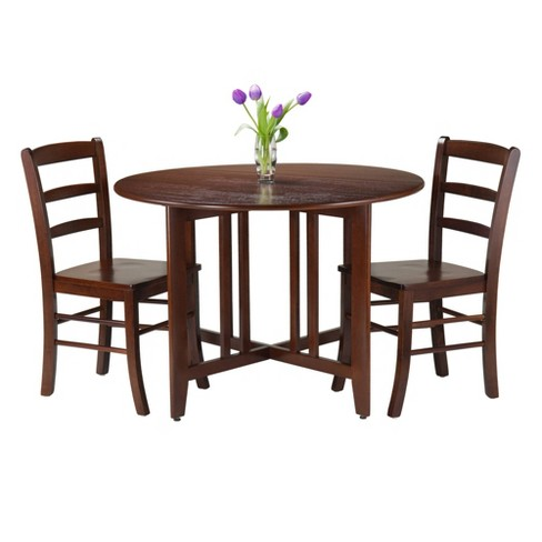 3 Piece Alamo Round Drop Leaf Table With 2 Ladder Back Chairs Wood Red