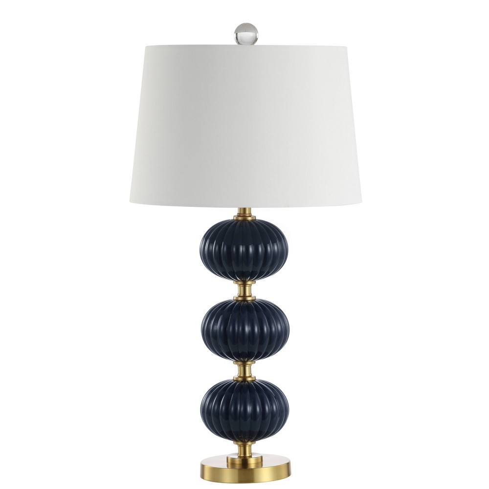 29.75 Carter Glass Led Table Lamp Navy (Blue) (Includes Energy Efficient Light Bulb) - Jonathan Y