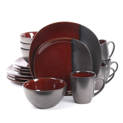 Gibson Elite 16pc Stoneware Volterra Square Dinnerware Set Red