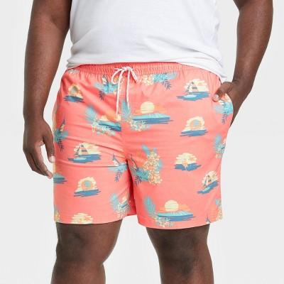 """Men's 7"""" Sunset Scenic Swim Trunks - Goodfellow & Co™ Light Pink"""