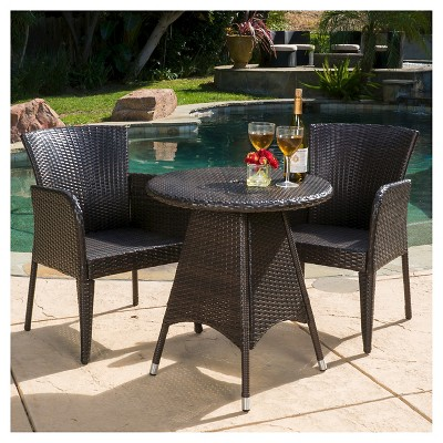 Brayden 3pc Wicker Patio Bistro Set - Brown - Christopher Knight Home