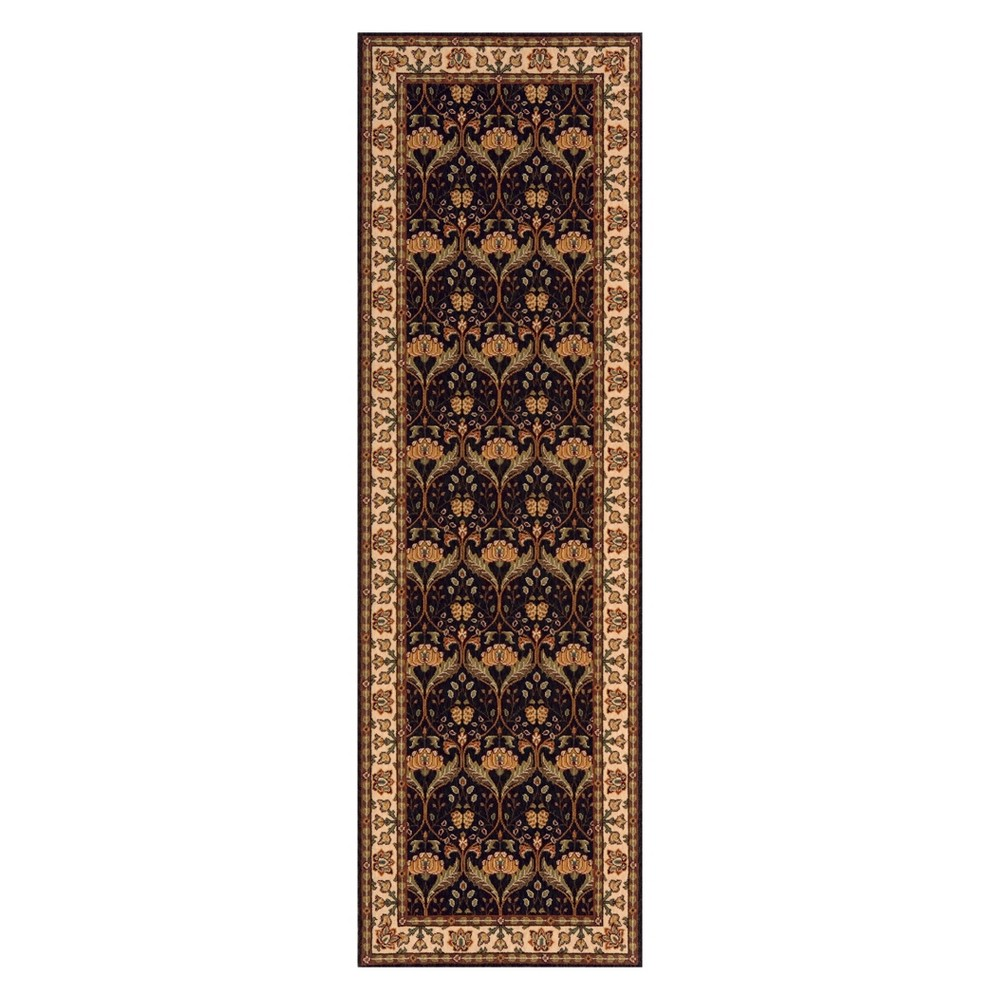 2'6X8' Floral Loomed Runner Charcoal (Grey) - Momeni