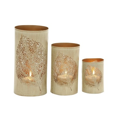 Set of 3 Leafy Cylindrical Contemporary Metal Candle Holders Natural - Olivia & May