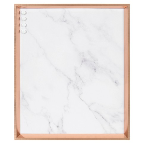 """28"""" x 22"""" Calter Marble Decorative Magnetic Memo Board Rose Gold/Marble - Kate and Laurel - image 1 of 4"""